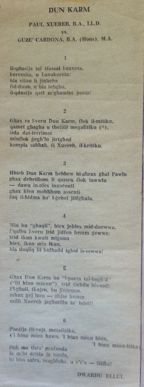 Dwardu Ellul - Limerikki 1972 -Dun Karm - Xuereb - Cardona