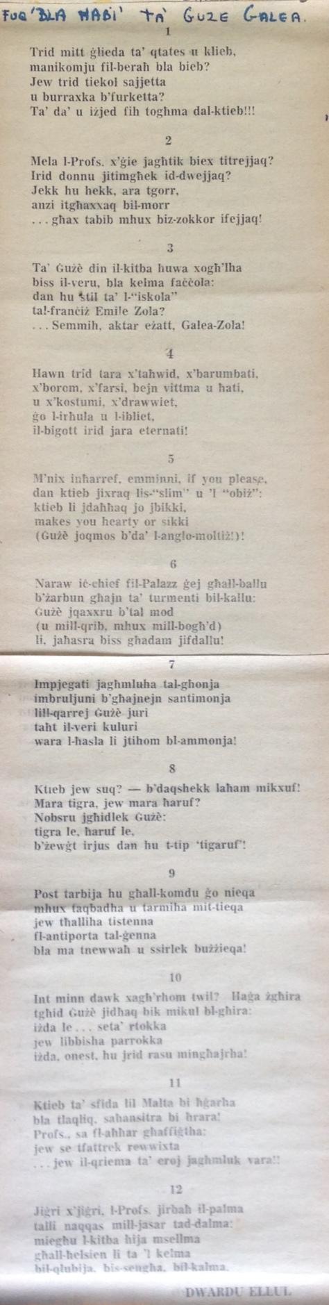 Dwardu Ellul - Limerikki 1972 - Fuq Bla Ħabi Ġużè Galea