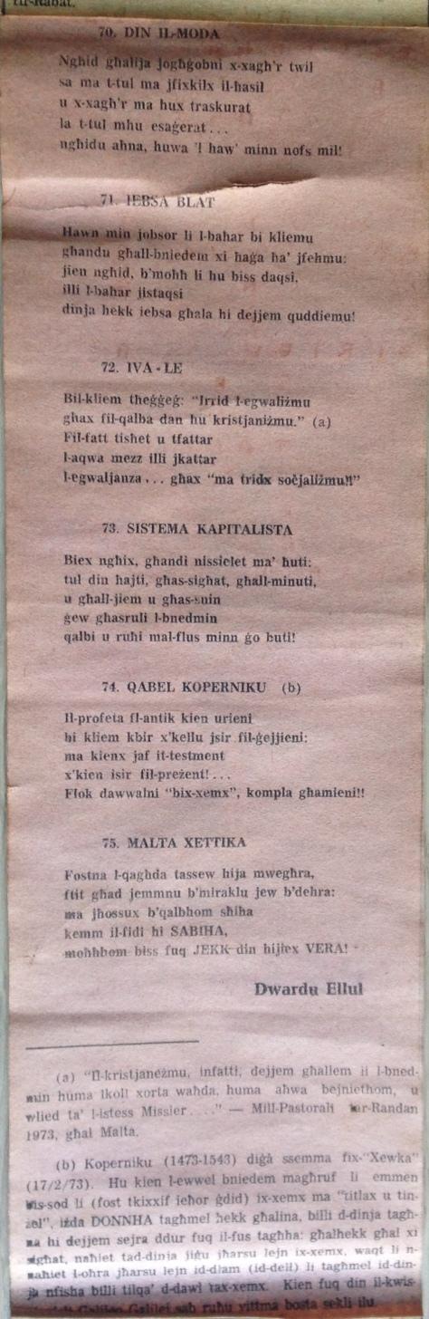 Dwardu Ellul - Limerikki 1973 - Din il-Moda