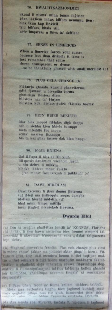 Dwardu Ellul - Limerikki 1973 - Kwalifikazzjonijiet